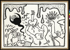 Keith Haring, o.T., Schwarze Tusche (Sumi) auf Papier, 1988 (© The Estate of Keith Haring)